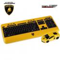 Clavier et souris d'ordinateur optique sans fil LAMBORGHINI Aventador jaune