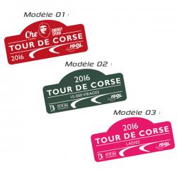 Plaque de Rallye Tour de Corse 2016 en autocollant