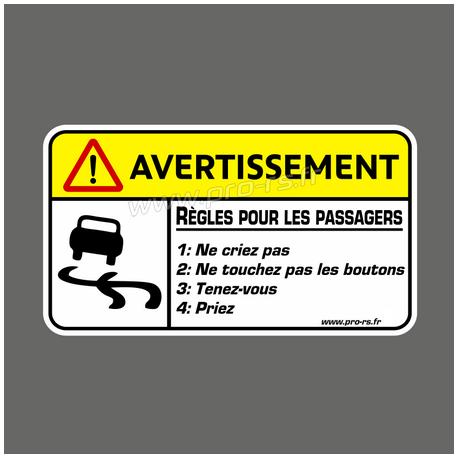 Sticker Avertissement Règles pour les passagers