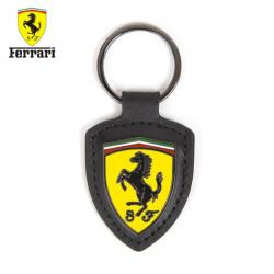 Porte clés FERRARI Badge cuir noir