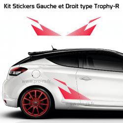 Kit 2 Stickers Latéraux Renault Sport type Trophy-R pour Clio 3
