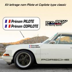 Kit Nom Pilote Copilote Rallye pour carrosserie petit format avec drapeaux.